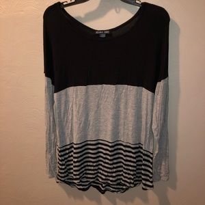Long Sleeve Black, Gray & Stripe